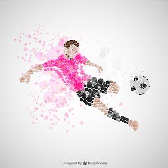 Jogador de futebol pontapé vetor