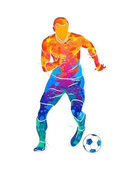 Jogador de futebol profissional abstrato atirando rápido em uma bola com respingos de aquarelas
