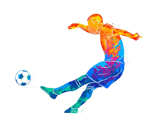 Jogador de futebol profissional abstrato rápido, atirando uma bola do respingo de aquarelas. ilustração de tintas