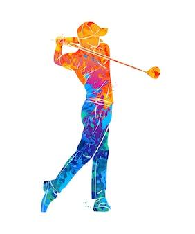 Jogador de golfe abstrato com respingos de aquarelas