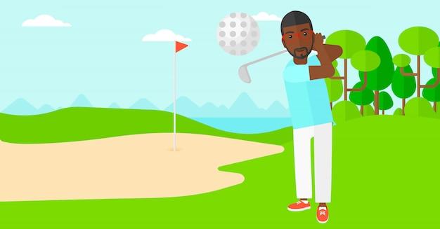 Jogador de golfe batendo a bola.