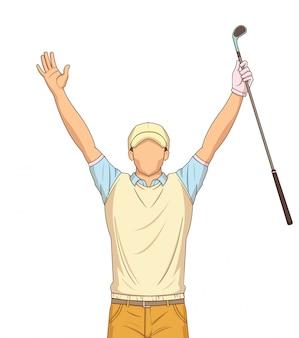 Jogador de golfe comemorando