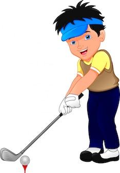 Jogador de golfe de desenhos animados de menino
