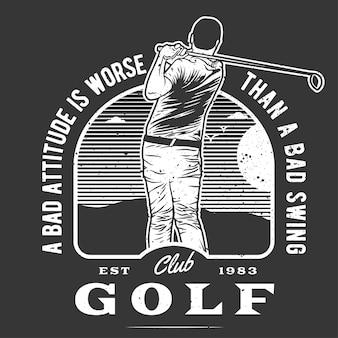 Jogador de golfe desenhado à mão vintage com efeito grunge e fundo de explosão estelar