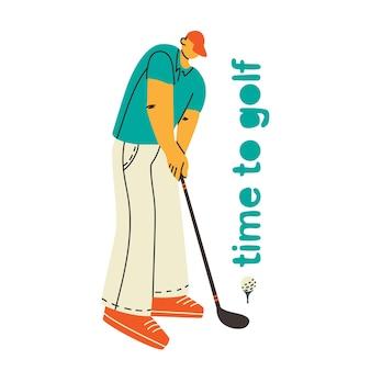 Jogador de golfe homem jogando golfe