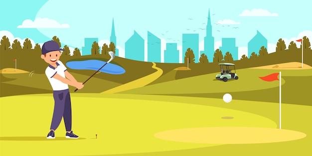 Jogador de golfe masculino que alinha o t disparado no campo de golfe.