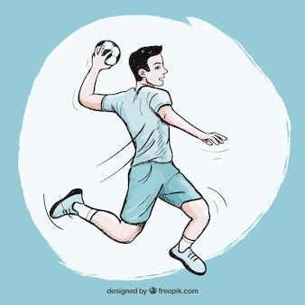 Jogador de handebol com estilo esboçado