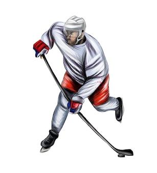 Jogador de hóquei abstrato com respingos de aquarelas coloridas desenhando esporte de inverno realista