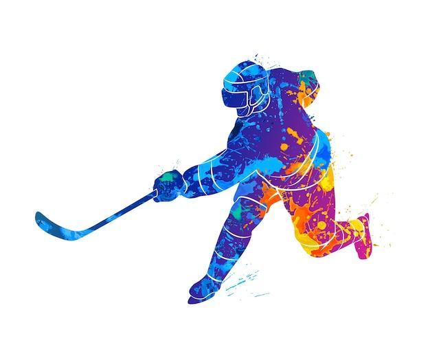 Jogador de hóquei abstrato de um toque de aquarelas. ilustração de tintas.