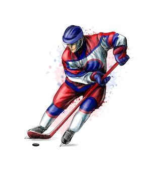 Jogador de hóquei abstrato do respingo de aquarelas. esboço desenhado de mão. esporte de inverno. ilustração de tintas