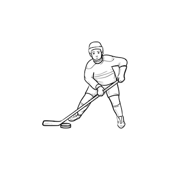 Jogador de hóquei no gelo com ícone de doodle de contorno de mão desenhada de disco. esporte de equipe de inverno, conceito de equipamento de hóquei no gelo