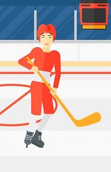 Jogador de hóquei no gelo com taco