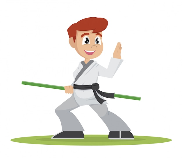 Jogador de kung fu de menino.