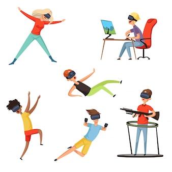 Jogador de realidade virtual, personagens engraçados e felizes jogando jogos online capacete vr fone de ouvido virtual ou óculos, s
