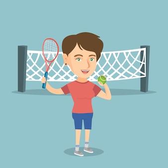 Jogador de tênis caucasiano que guarda a raquete e a bola.