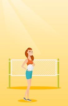 Jogador de voleibol de praia caucasiano jovem.