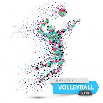 Jogador de voleibol. ilustração do jogo de pontos. vetor eps 10