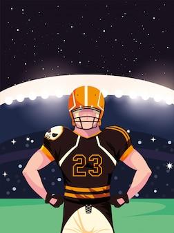Jogador do super bowl com capacete na frente da ilustração da arquibancada