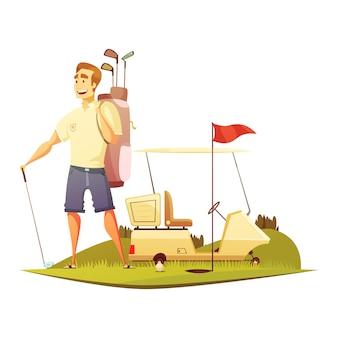 Jogador golfe, ligado, curso, com, saco, carro, e, alfinete bandeira vermelha, perto, buraco, retro, caricatura, vetorial, ilustração