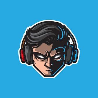 Jogador mascote logotipo, emblema de jogos