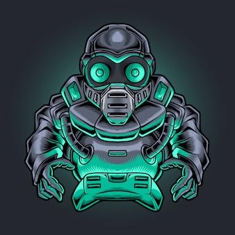 Jogador ninja robótico com ilustração de joystick