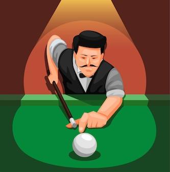 Jogador profissional de bilhar. homem posa para atirar no conceito de cena de bola branca