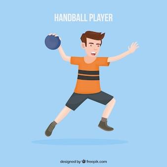 Jogador profissional de handebol com design plano