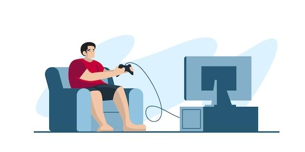 Jogador profissional segurando o controlador de almofada, jogar video game na tela da tv. jogador de e-sports, conceito de jogadores profissionais. modelo de banner de cabeçalho ou rodapé. ilustração escalável e editável.