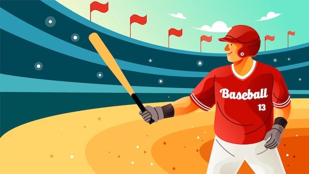 Jogador segurando taco de beisebol