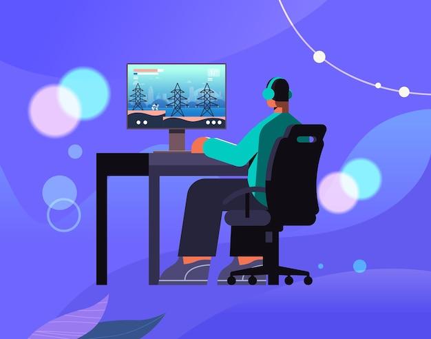 Jogador virtual profissional jogando videogame on-line em seu computador pessoal cyber desportista em fones de ouvido cybersport conceito ilustração vetorial de corpo inteiro