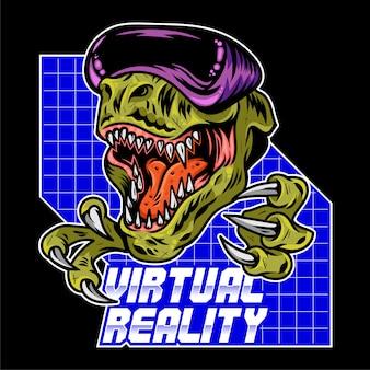 Jogador zangado do dinossauro t rex que joga videogame de arcade virtual em óculos vr modernos. ilustração de design de logotipo de esporte de mascote com controlador de gamepad. impressão da cultura geek para roupas de camisetas.