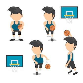 Jogadores basquetebol, com, cesta basquetebol