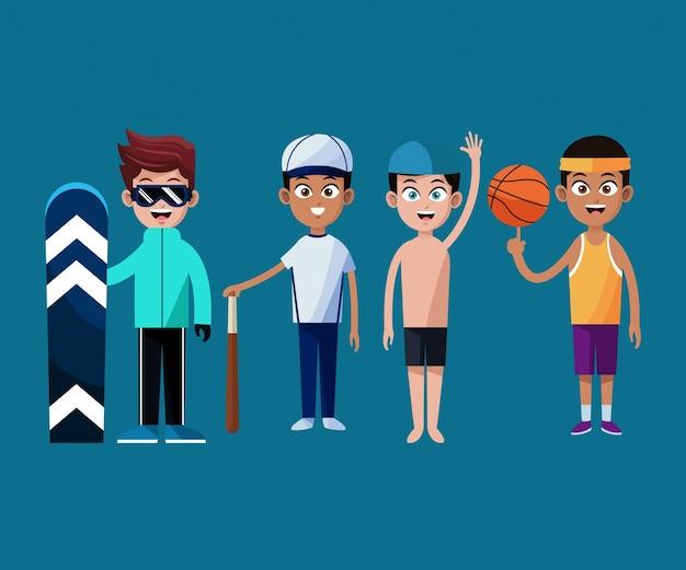 Jogadores da equipe do esporte juntos gráfico