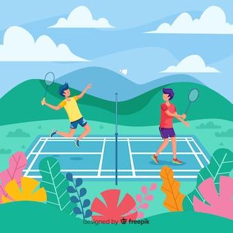 Jogadores de badminton