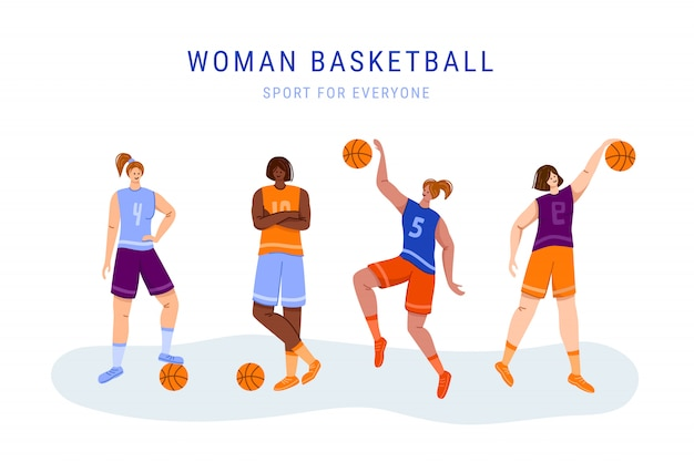 Jogadores de basquete com bola - conjunto de caracteres de meninas isoladas, afro-americanas e mulheres brancas jogando