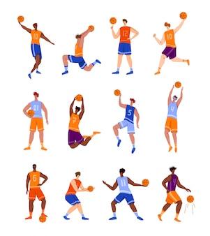 Jogadores de basquete com bola - conjunto de caracteres de pessoas isoladas, afro-americanos e homens brancos jogando
