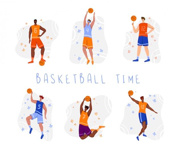 Jogadores de basquete com bola - conjunto de caracteres de pessoas isoladas, afro-americanos e homens brancos