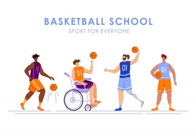 Jogadores de basquete com deficiência com bola, jovem musculoso em cadeira de rodas, homem com perna protética, distúrbio físico