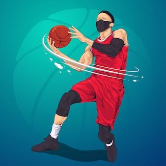 Jogadores de basquete prontos para atirar