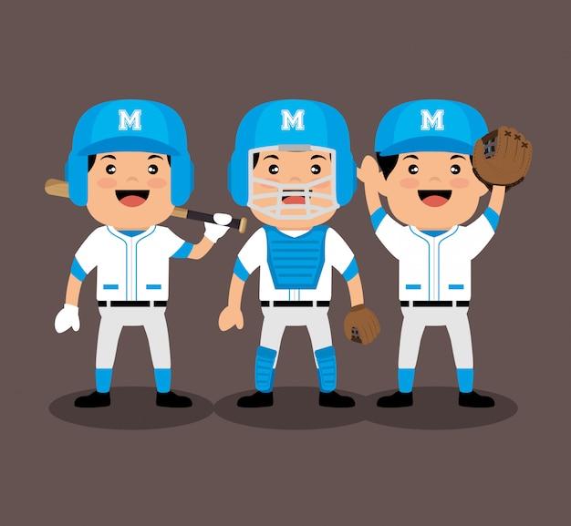 Jogadores de beisebol dos desenhos animados