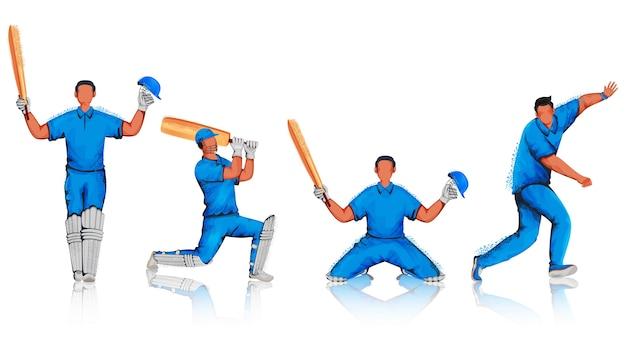 Jogadores de críquete sem rosto com efeito de ruído em diferentes poses.