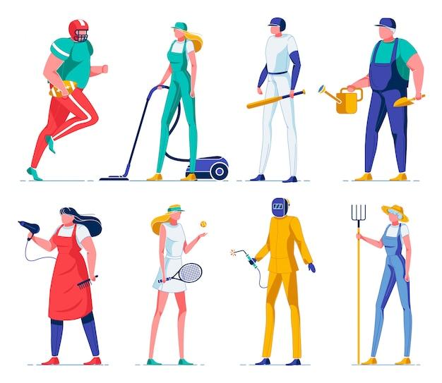 Jogadores de esporte, agricultores, limpadores de personagens planas.