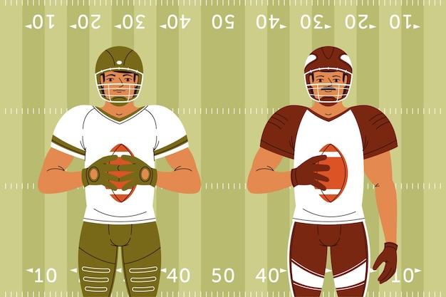 Jogadores de futebol americano na frente do campo