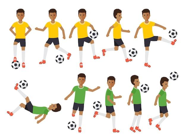 Jogadores de futebol, atletas de esporte de futebol em ações.