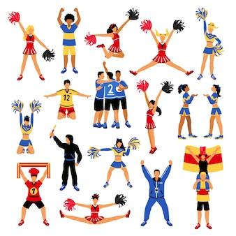 Jogadores de futebol cheerleaders e fãs definir