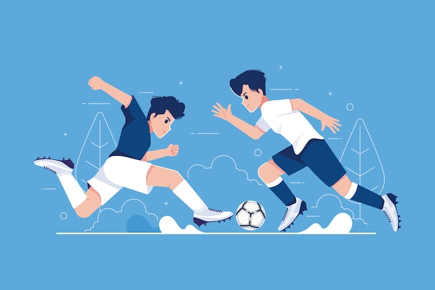 Jogadores de futebol chutando a bola