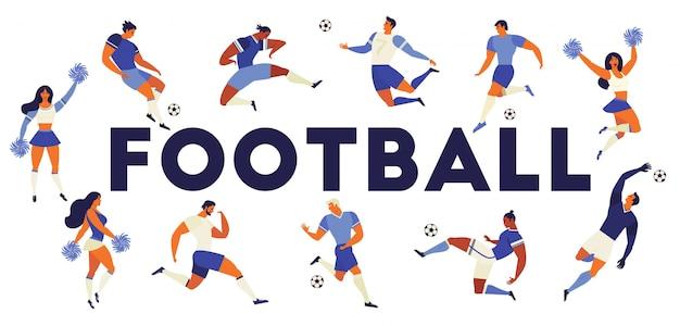 Jogadores de futebol de futebol e líderes de torcida.