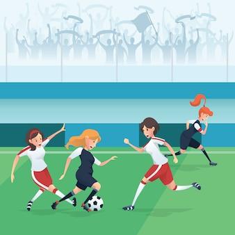 Jogadores de futebol de mulheres em ilustração vetorial de estádio