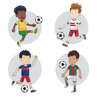 Jogadores de futebol dos desenhos animados