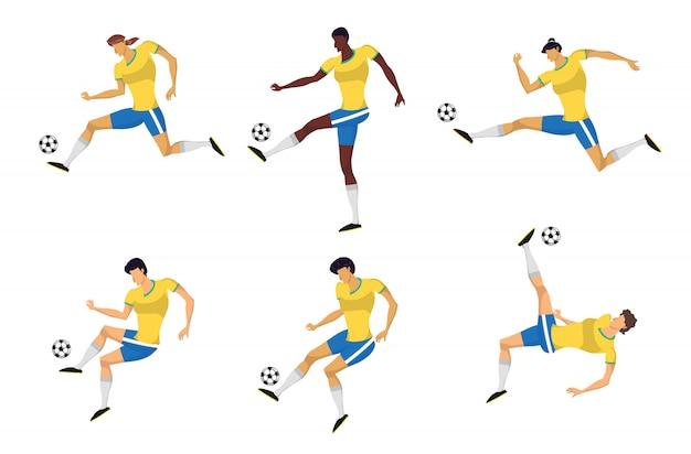 Jogadores de futebol mulher definido em ação.